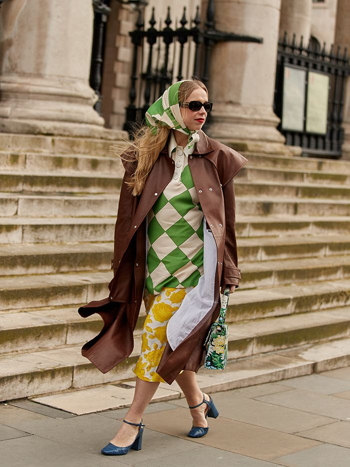 Babushka Scarf: Matching green check scarf