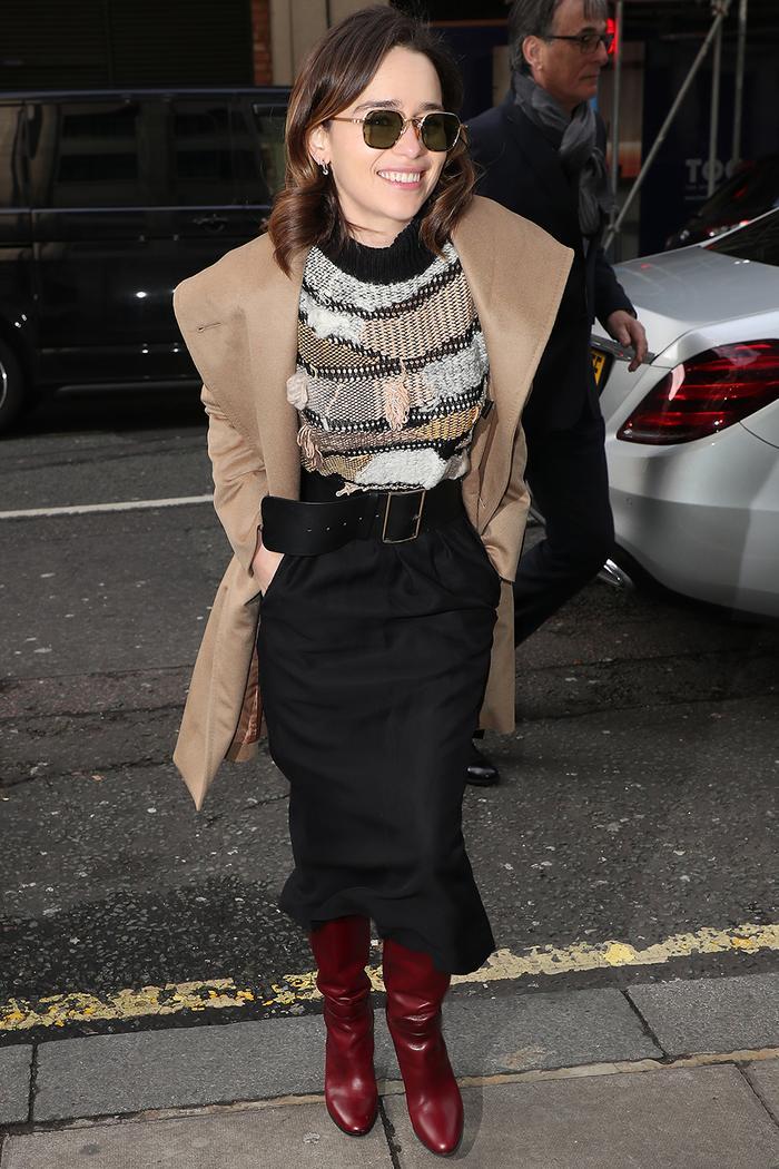 Emilia Clarke Style: Beige Coat