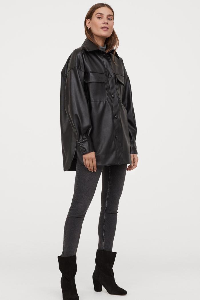H&M Faux Leather Shirt Jacket
