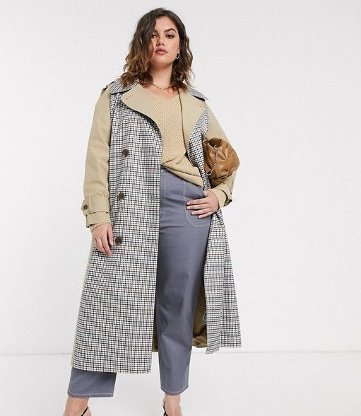 ASOS Trench Coat With Check Splicing