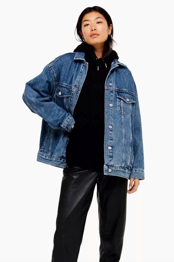 Topshop Blue Denim Super Oversized Jacket
