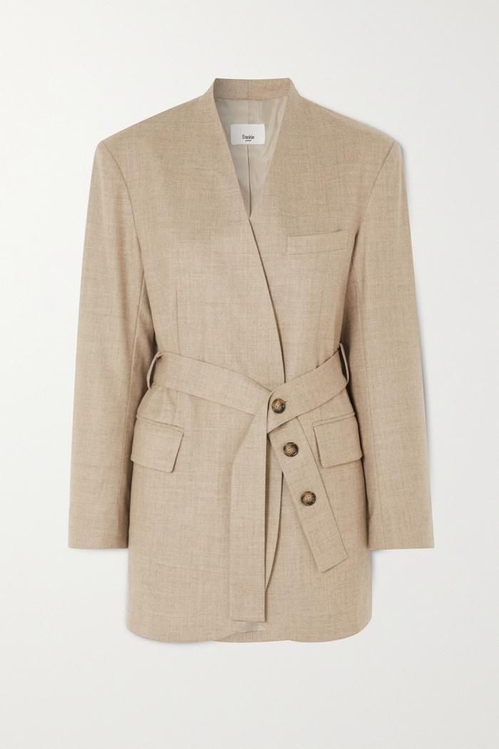 Frankie Shop Belted Wool Blend Wrap Blazer