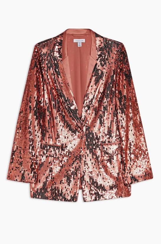 Topshop Idol Copper Sequin Blazer