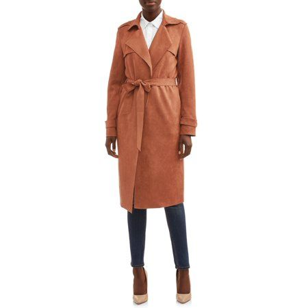 Heart N Crush Faux Suede Trench Coat