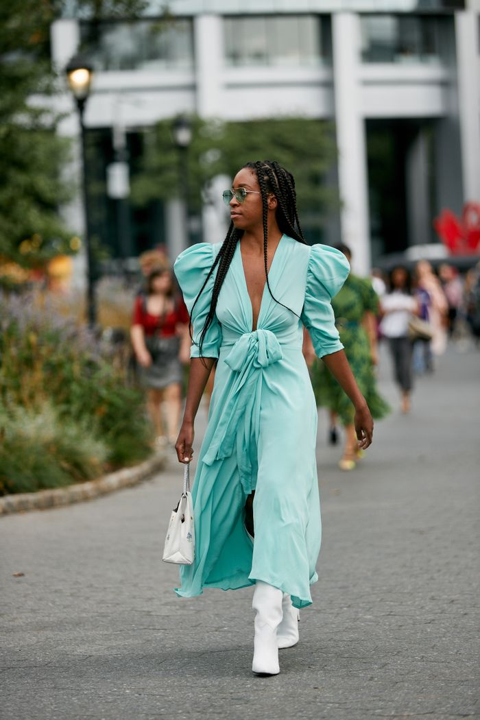 Spring Summer 2020 Fashion Week Street Style Puff Sleeve Dress