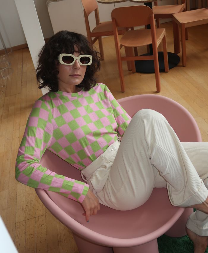 Alyssa Coscarelli Apercu Sunglasses Checkered Shirt