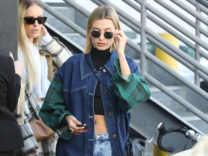 Hailey Bieber low-rise jeans