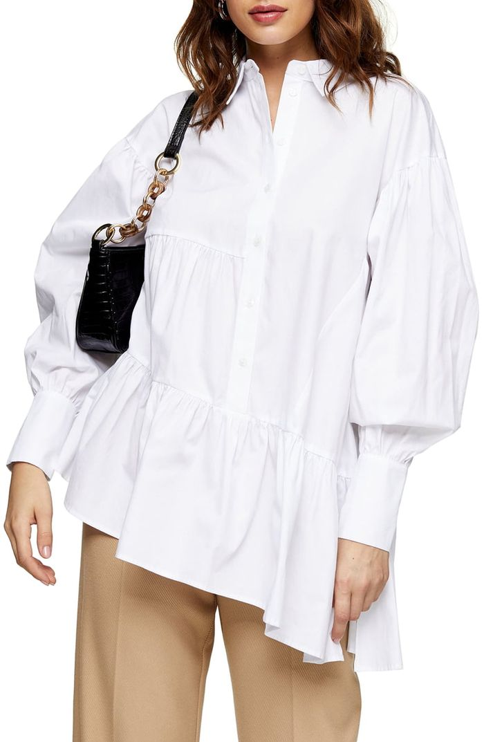 Topshop Tiered Asymmetrical Poplin Shirt