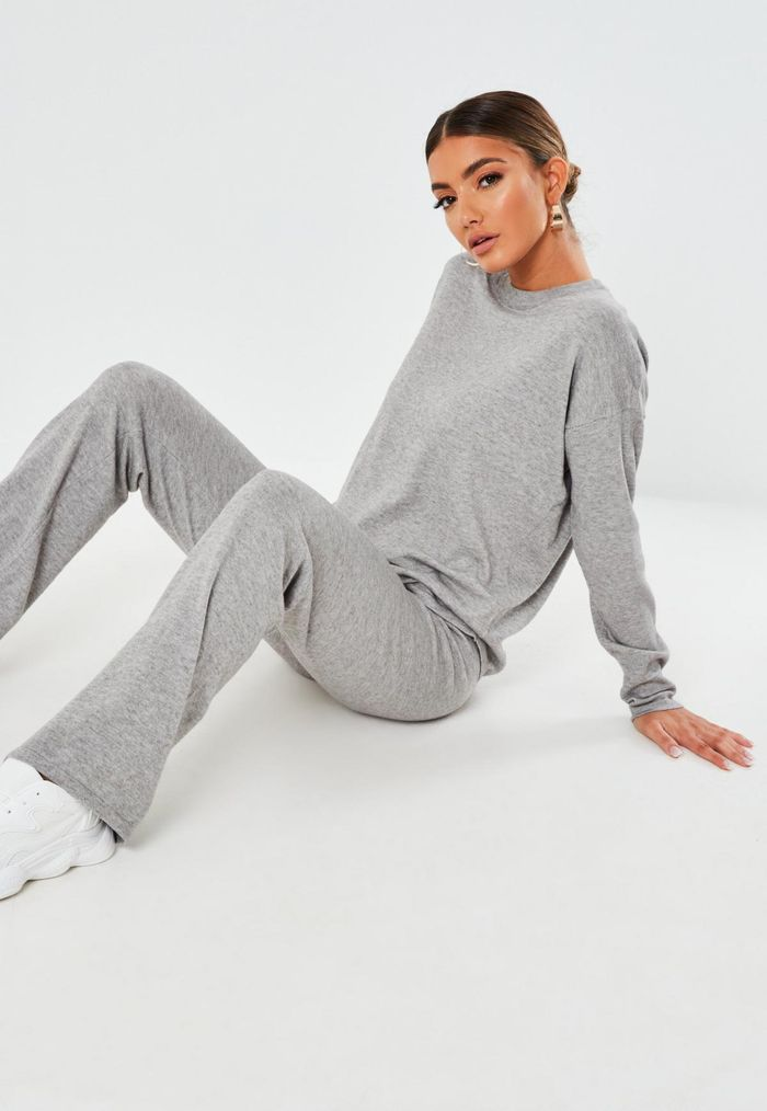 Missguided Gray Knit Oversized Top and Pants Co Ord Set
