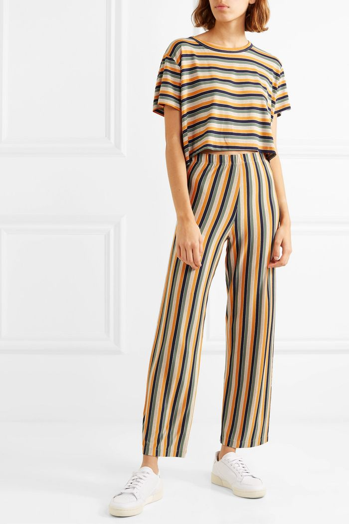 LeSet Harley Striped Stretch-Jersey Top and Pants Set