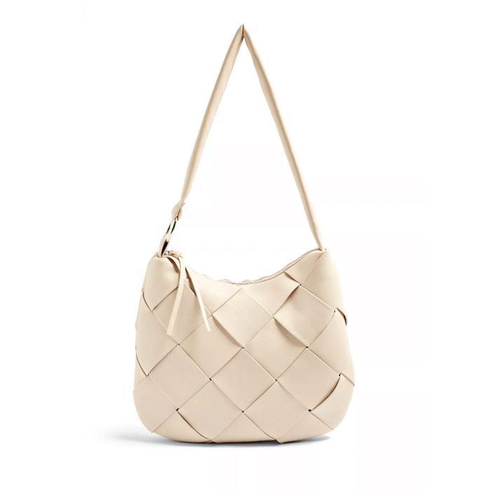 Topshop Stone Woven Hobo Bag