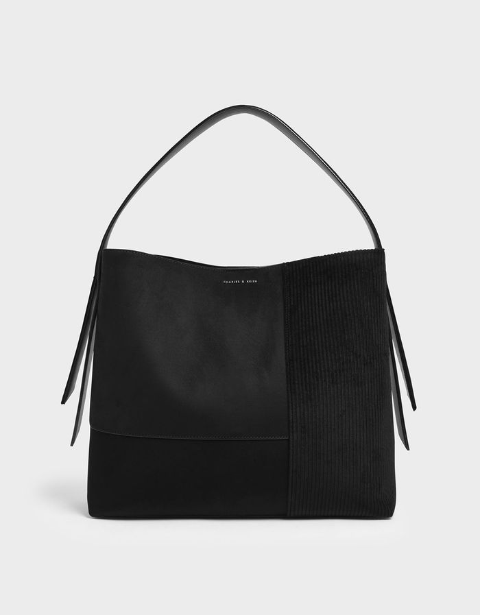 Charles & Keith Black Velvet & Corduroy Square Tote Bag