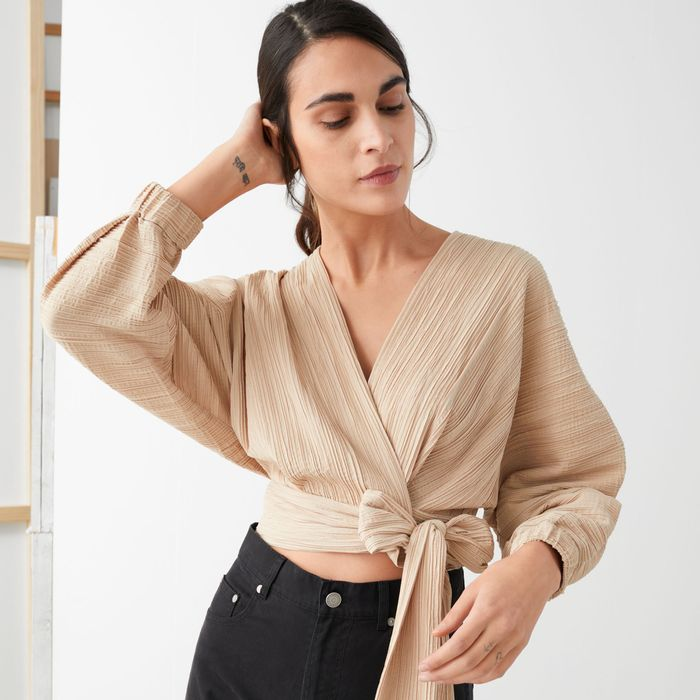 & Other Stories Wide Sleeve Plissé Wrap Blouse