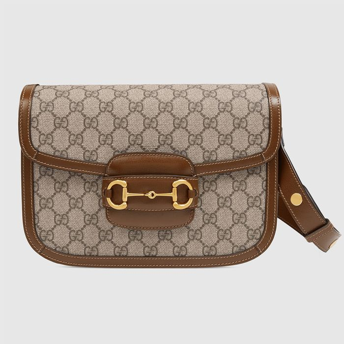 Gucci 1955 Horsebit Shoulder Bag in GG Supreme/Brown