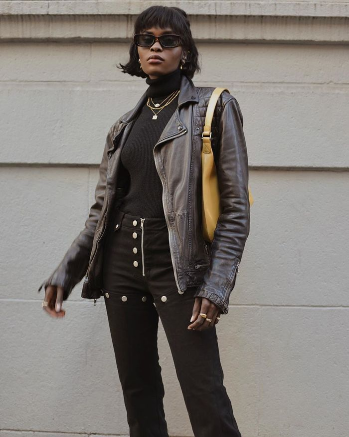 How a NYC girl wears a moto jacket