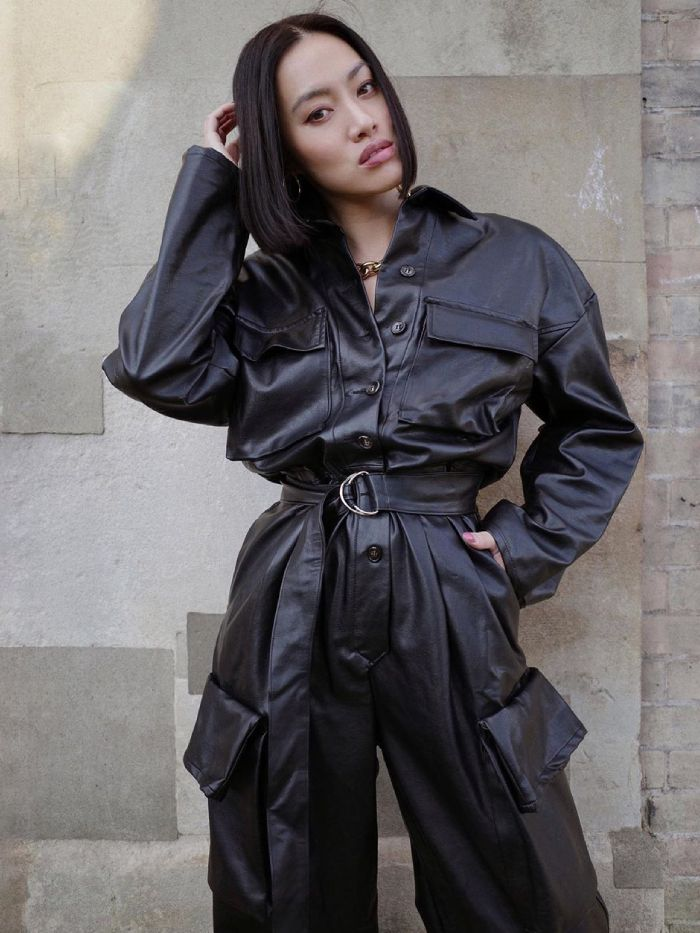 leather jumpsuit trend: tiffany hsu hand in fire
