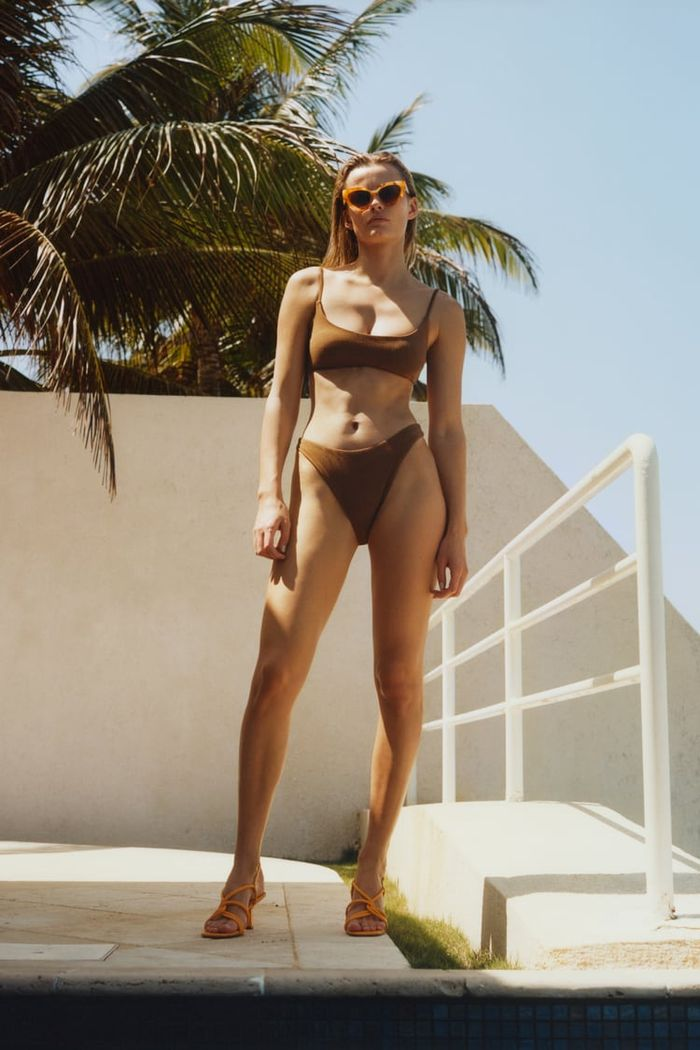 Zara Textured Weave Bikini Top