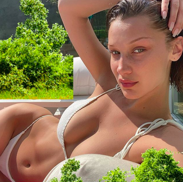 Bella Hadid Wearing a White Bikini Swimsuit