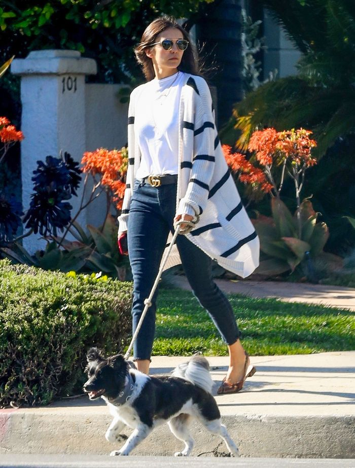 Nina Dobrev Wearing Skinny Jeans and Flats With an Affordable T-Shirt