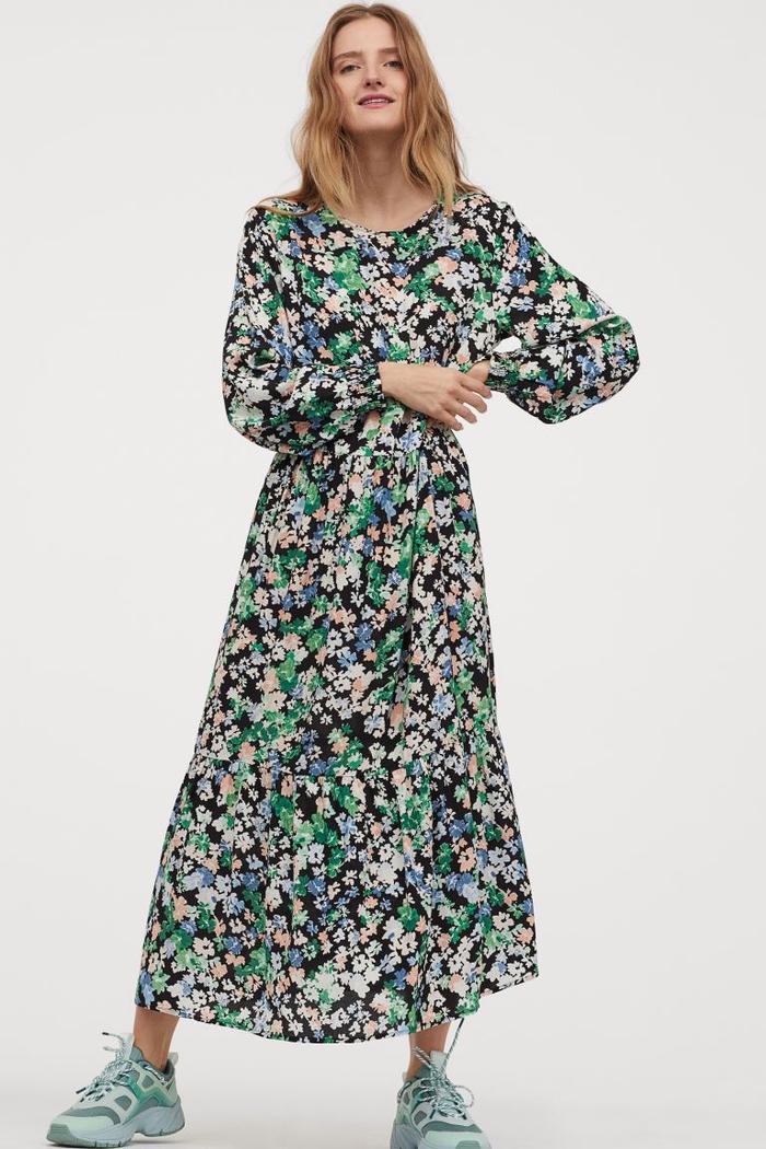 racija h\u0026m floral dress black