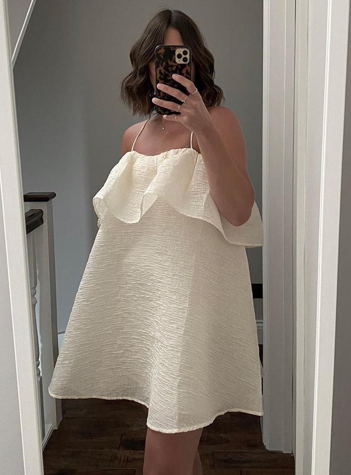 H&M trending items summer 2020: mini a line beige dress