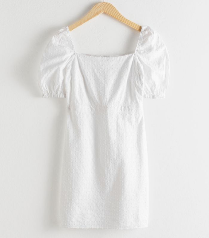 & Other Stories Puff Sleeve Dobby Cotton Mini Dress