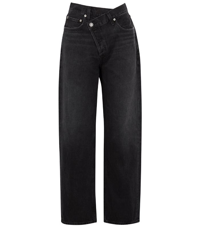 Agolde Criss Cross Faded Black Straight-Leg Jeans