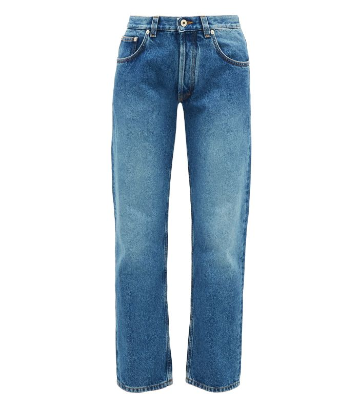 Loewe Flower-Embroidered Straight-Leg Jeans
