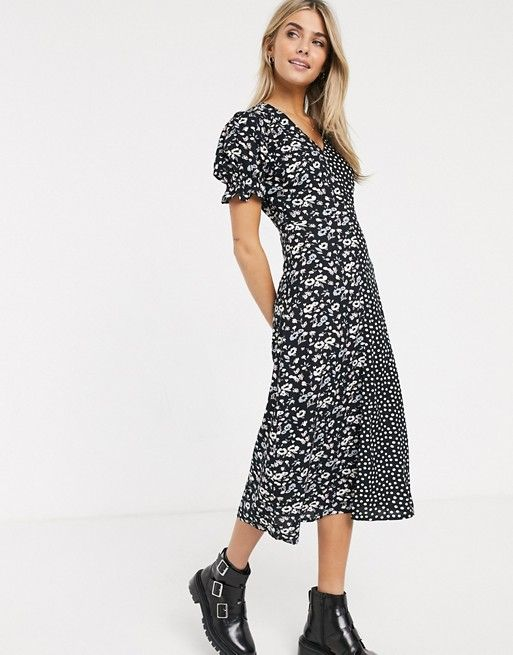 Spot /& Floral Mixed Print Midi Frill Wrap Dress with Long Sleeves in Black Whit