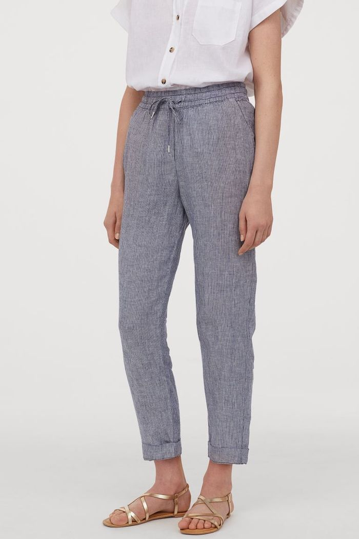 H&M Linen Joggers in Blue/Narrow-Striped