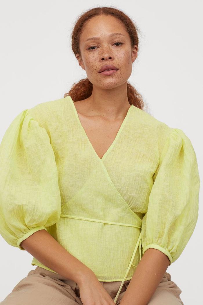 H&M Crinkled Wrapover Blouse