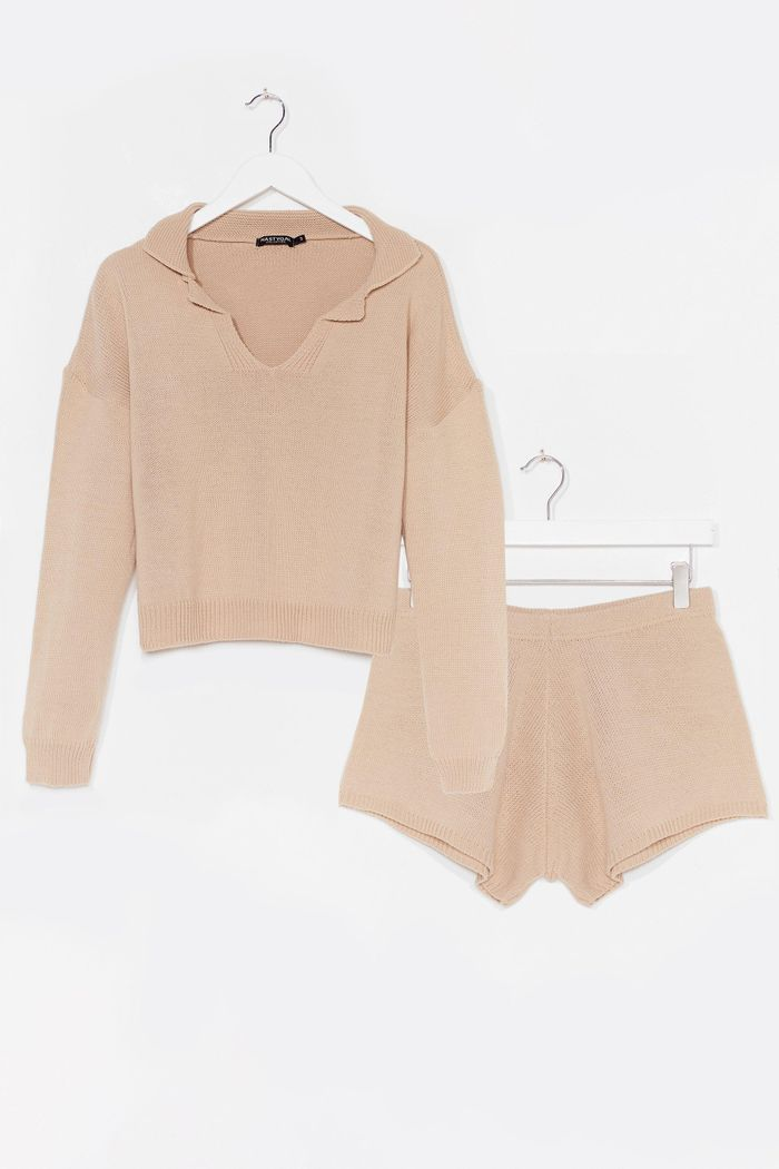 Nasty Gal Knitted Collar V-Neck Jumper + Short Lounge Set