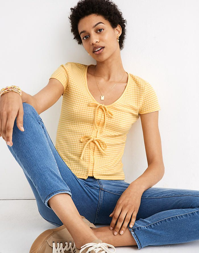 Madewell Gingham Bow-Front Tee