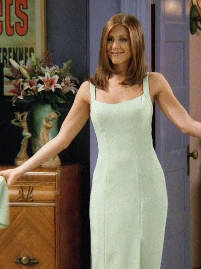 Rachel Green Style: Sage Green Slip Dress