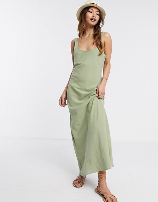 ASOS Design Linen Cami Maxi Dress in Khaki