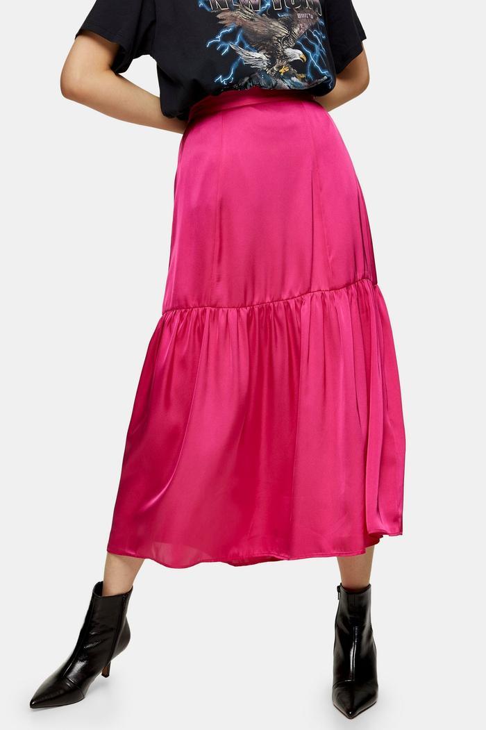 Topshop Plain Pink Tiered Satin Skirt