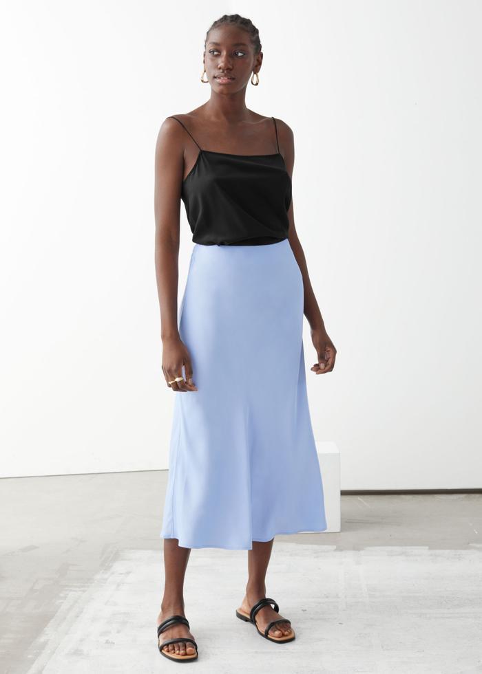 & Other Stories Satin A-Line Midi Skirt
