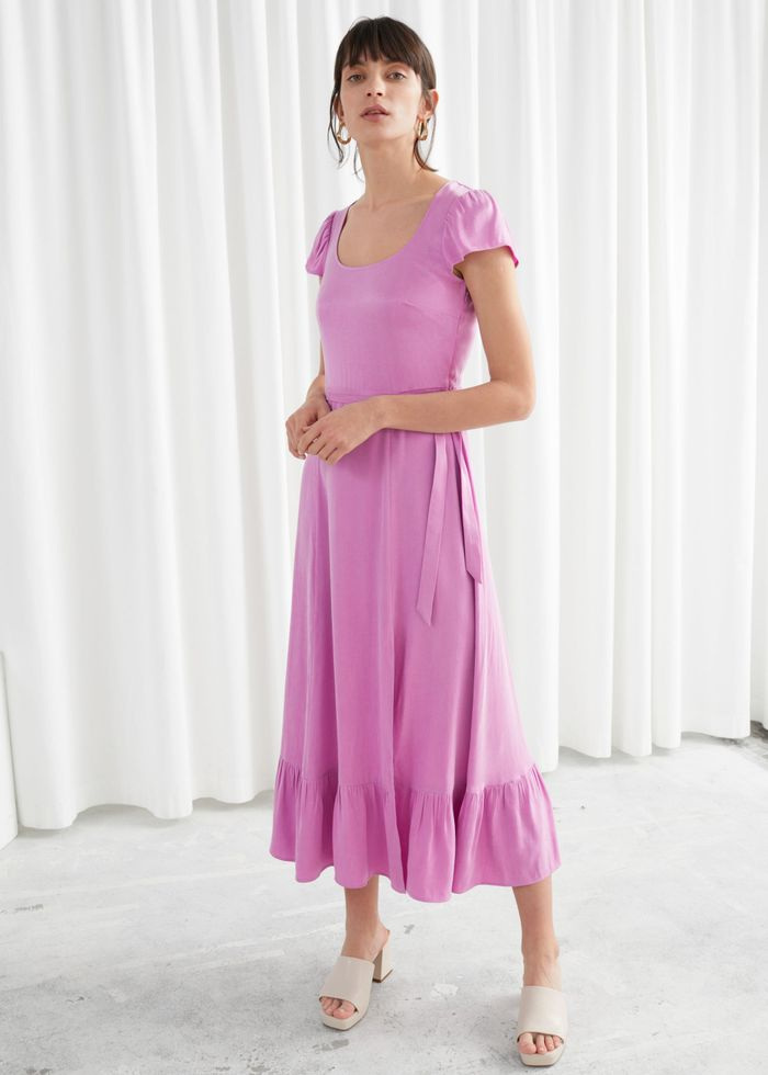 & Other Stories Scoop Neck Midi Dress