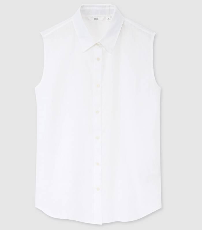 Uniqlo Women 100% Premium Linen Sleeveless Shirt
