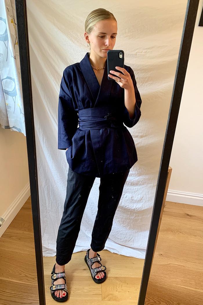 Rie Takeda x Kin wrap jacket