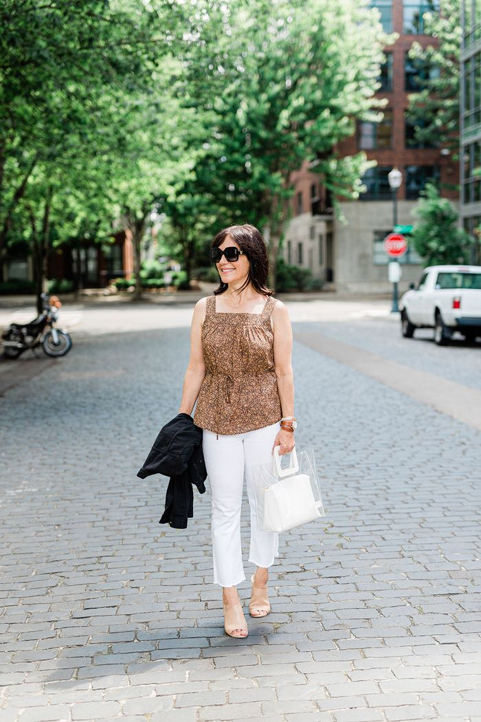 The trend a 55-year-old gets compliments on: square-neck tops