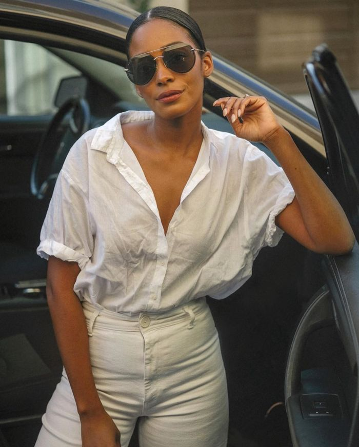 The staples French girls wear: white button-down