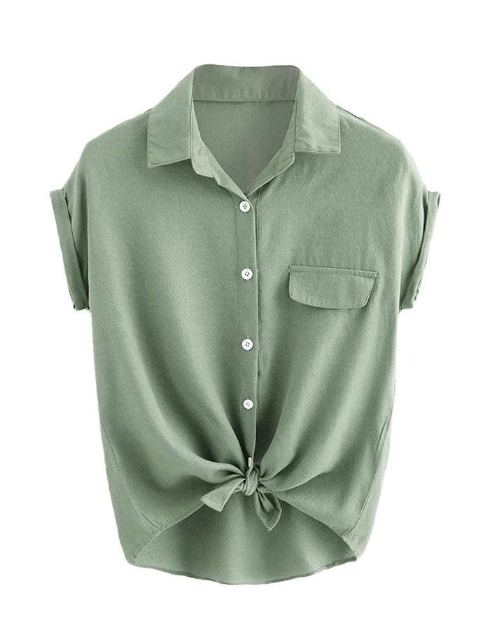 Wobuoke Women Summer Casual Off The Shoulder Short Sleeve Waist Plaid Panel Irregular Hem T-Shirt Top
