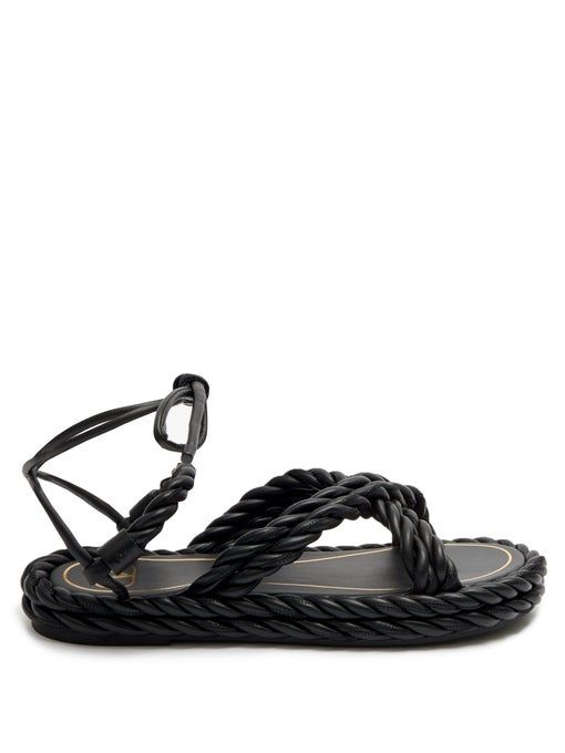 Valentino Garavani The Rope Ankle-Tie Leather Sandals