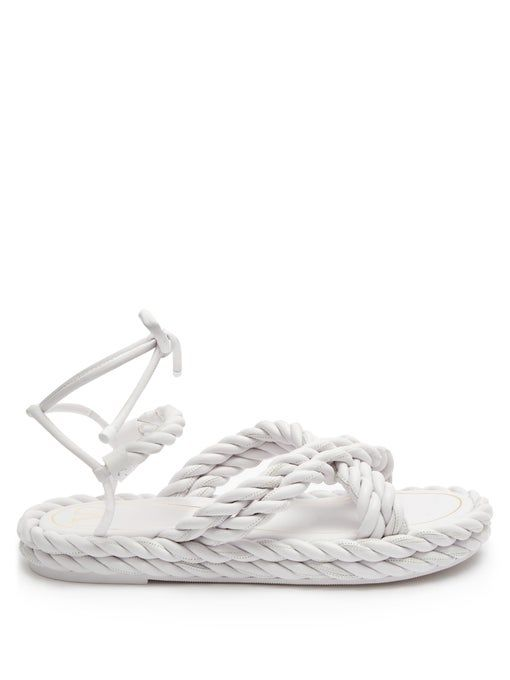 Valentino Garavani The Rope Ankle-Tie Leather Sandals