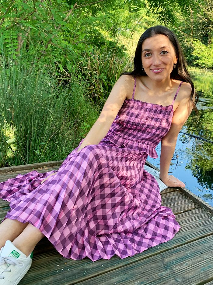 Gingham Pleat Dress: Who What Wear Collection