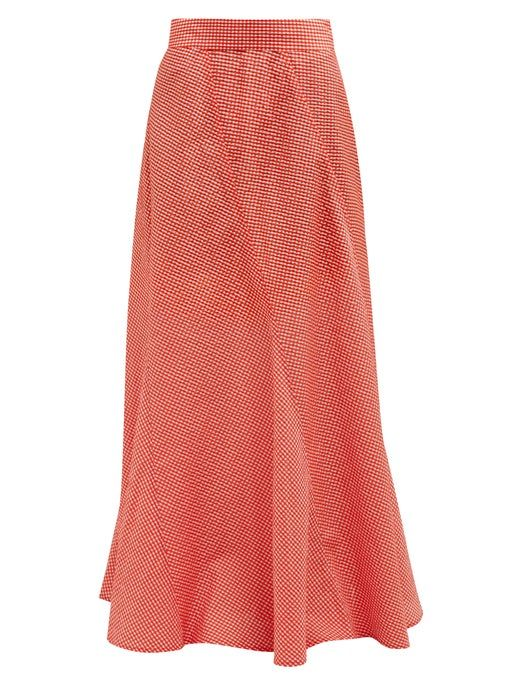 Ganni Panelled Gingham Seersucker Maxi Skirt