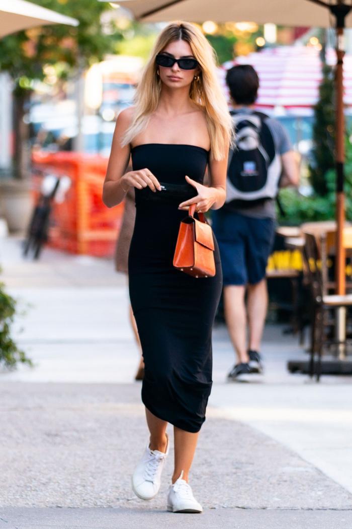 Emily Ratajkowski Summer Style: Strapless Dress + Sneakers
