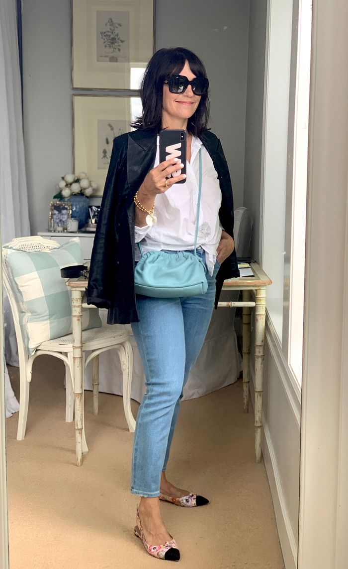 Outfit a 55-year-old loves: white blouse and black blazer