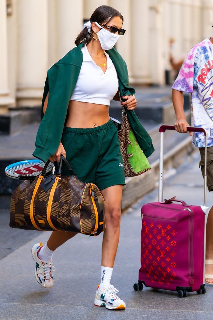 Bella Hadid sweatshorts outfit